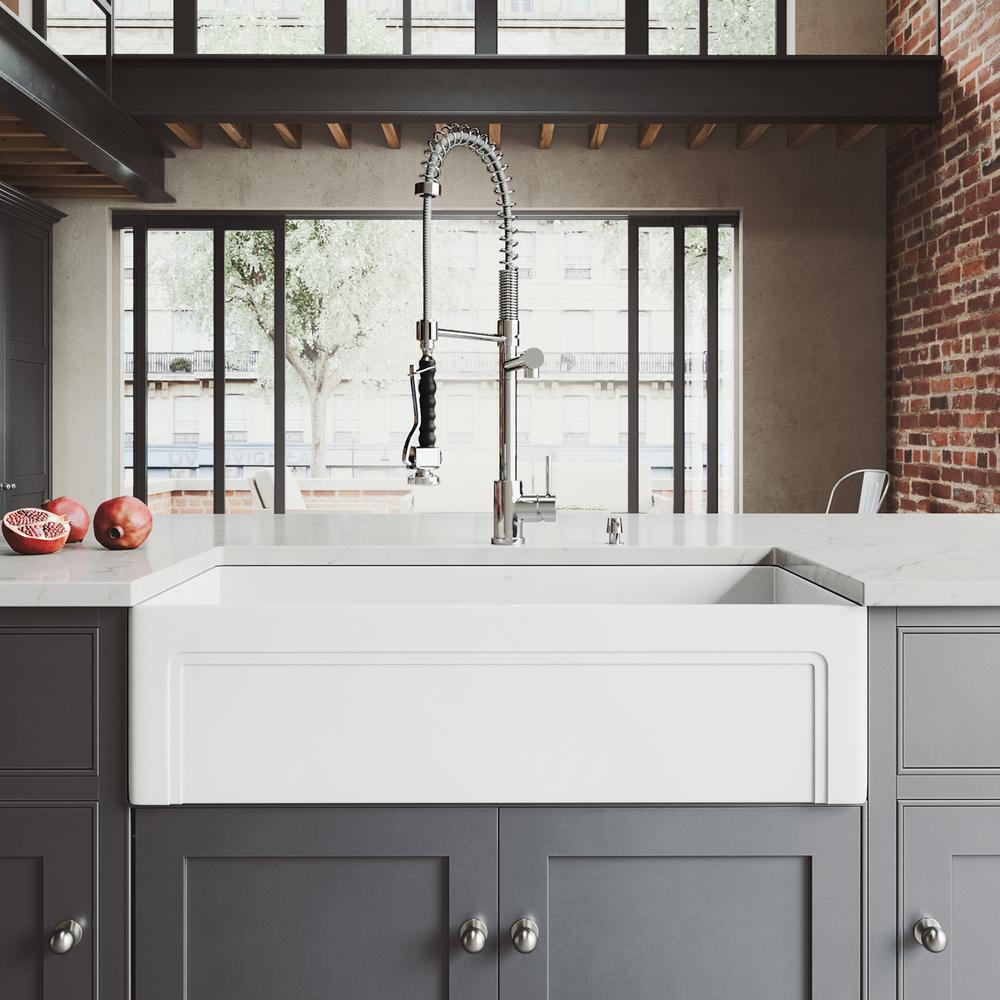 VIGO All-in-One Farmhouse Matte Stone 36 in. Single Bowl Kitchen ...