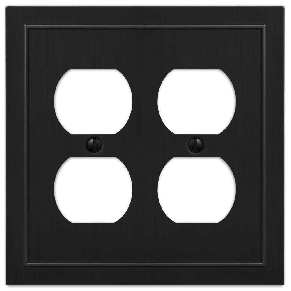 Bethany 2 Gang Duplex Metal Wall Plate - Black