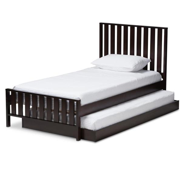 Baxton Studio Harlan Espresso Brown Twin Platform Bed with Trundle
