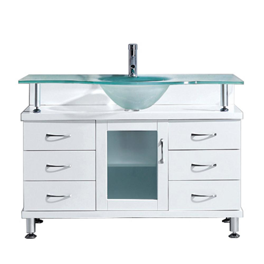 Virtu USA Vincente 48 in. W Bath Vanity in White with Gla...