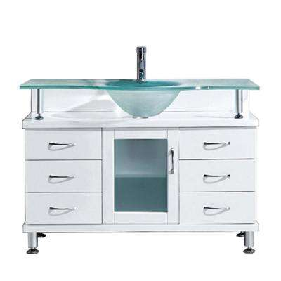 Vincente 48 in. W Bath Vanity in White with Glass Vanity Top in Aqua with Round Basin