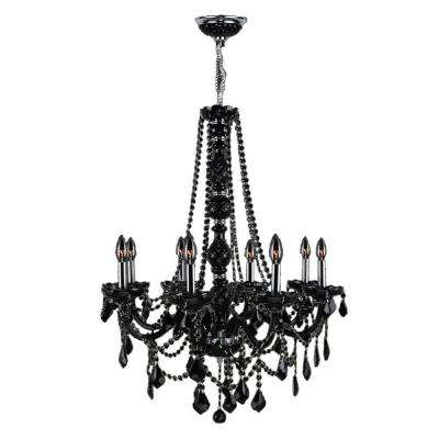 Provence Collection 8-Light Black Crystal Chandelier