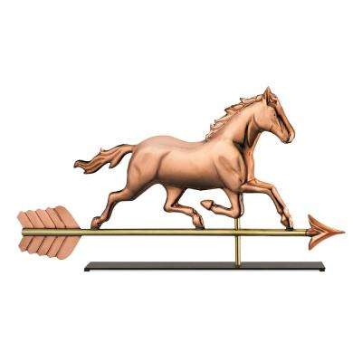 Trotting Horse Copper Table Top Sculpture - Traditional Home Decor
