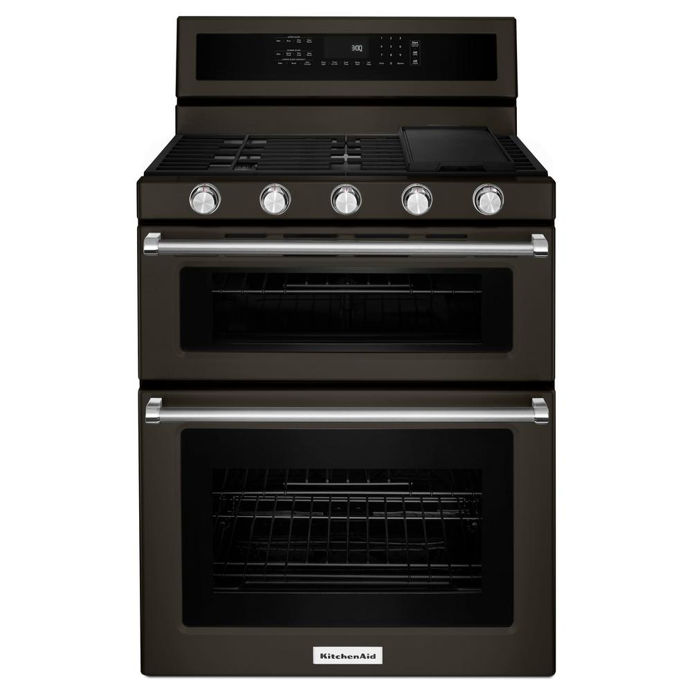 KitchenAid 30 In. 6.0 Cu. Ft. Double Oven Gas Range With Self Cleaning  Convection Oven In Stainless Steel KFGD500ESS   The Home Depot