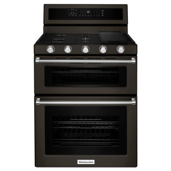 6.0 cu. ft. Double Oven Gas Range with Self-Cleaning Convection Oven in PrintShield Black Stainless