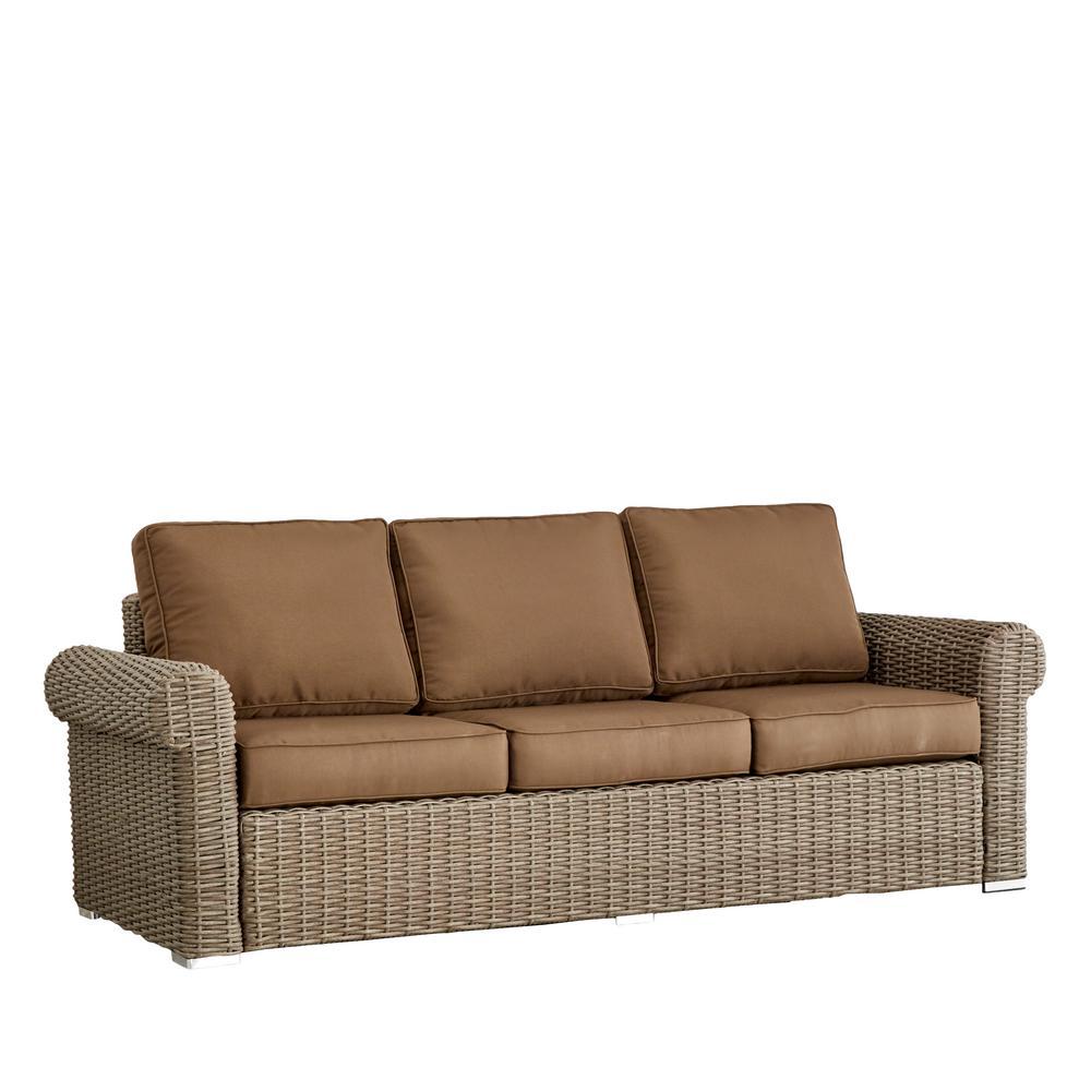 HomeSullivan Camari Mocha Rolled Arm Wicker Outdoor Sofa With Brown Cushion