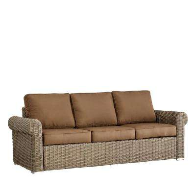 Camari Mocha Rolled Arm Wicker Outdoor Sofa with Brown Cushion