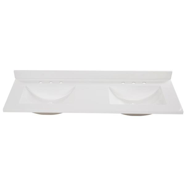 61 in. Cultured Marble Vanity Top in White with White Sinks