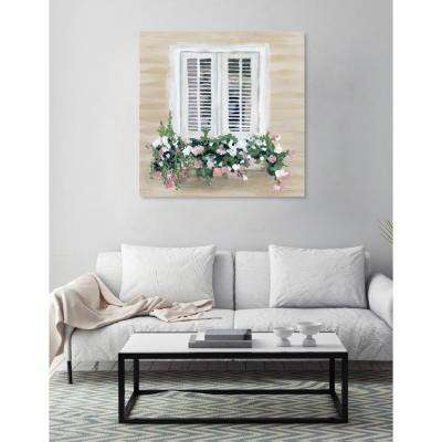 "30 in. x 30 in. W ""Flowers in my Window"" by ""The Oliver Gal Artist Co."" Printed Framed Canvas Wall Art"