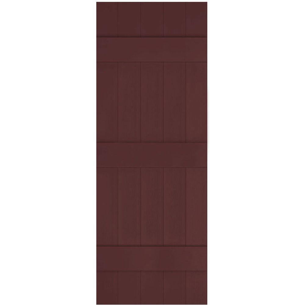 Ekena Millwork 17 1 2 In X 81 In Lifetime Vinyl Custom Five Board Joined Board And Batten Shutters Pair Bordeaux Lj5c17x08100bd The Home Depot