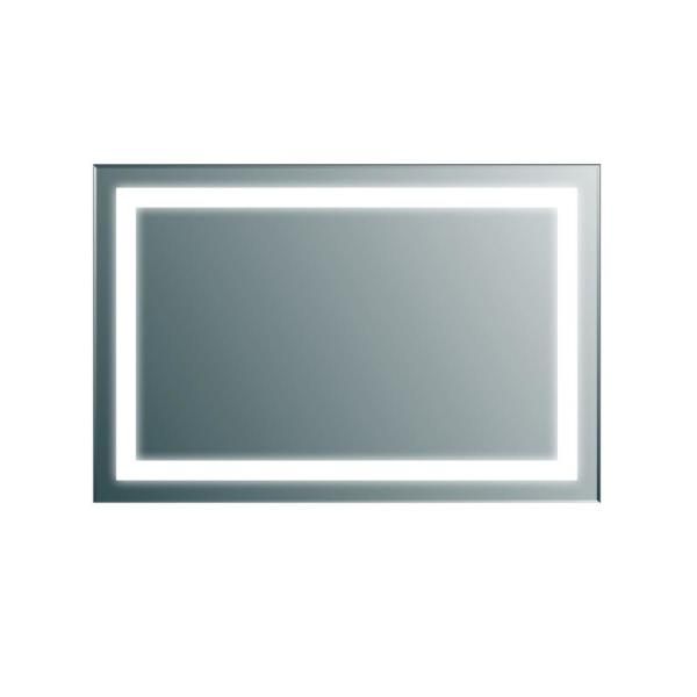 Lite 34 in. W x 30 in. H Frameless Rectangular Bathroom Vanity Mirror in Aluminum
