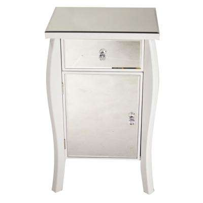 Shelly Assembled 18.75 in. x 18.75 in. x 14.5 in. White Wood Tall Accent Storage Cabinet with Glass Drawer and Door