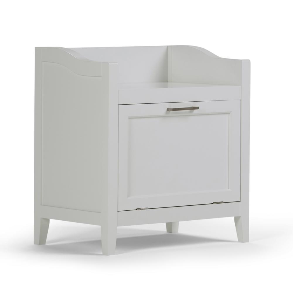 Mia 21.7 in. W x 24.2 in. H Storage Hamper Bench in Pure White