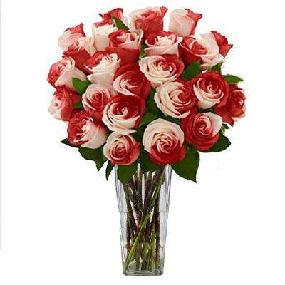 Gorgeous Sweetheart Rose Bouquet in Clear Vase (24 Stem) Overnight Shipping Included