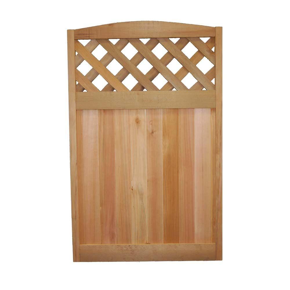 Signature Development 4 ft. H x 2-1/2 ft. W Western Red Cedar Diagonal Lattice Deluxe Arched Fence Panel