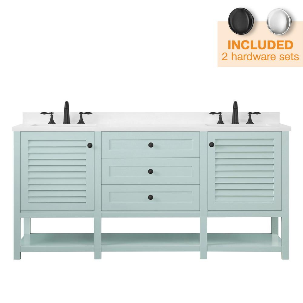 Home Decorators Collection Grace 72 in. W x 22 in. D Bath Vanity in Minty Latte with Cultured Marble Vanity Top in White with White Basin