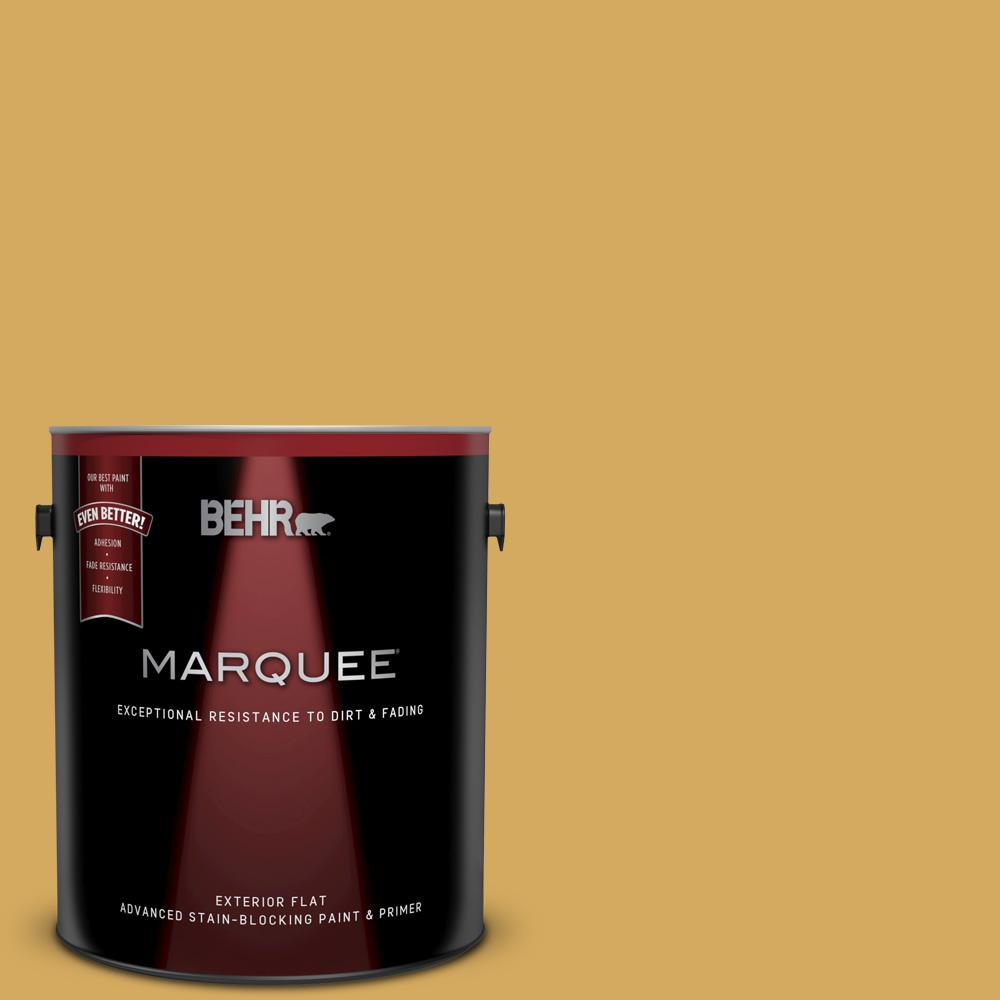 Behr Marquee 1 Gal 350d 5 French Pale Gold Flat Exterior Paint And Primer In One 445301 The Home Depot