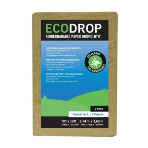 EcoDrop 9 ft. x 12 ft. Paper Drop Cloth (2-Pack)