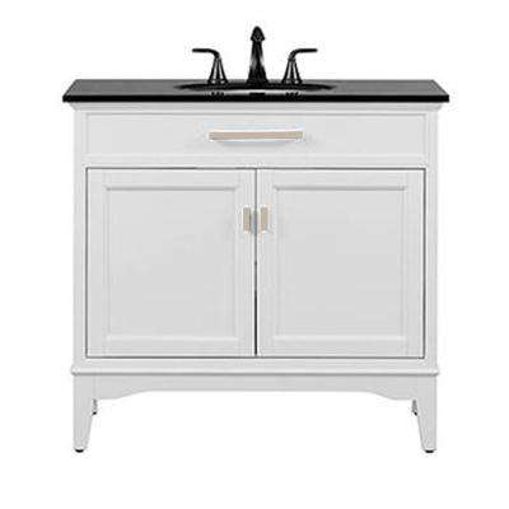 Manor Grove 37 in. W Bath Vanity in White with Granite Vanity Top in Black