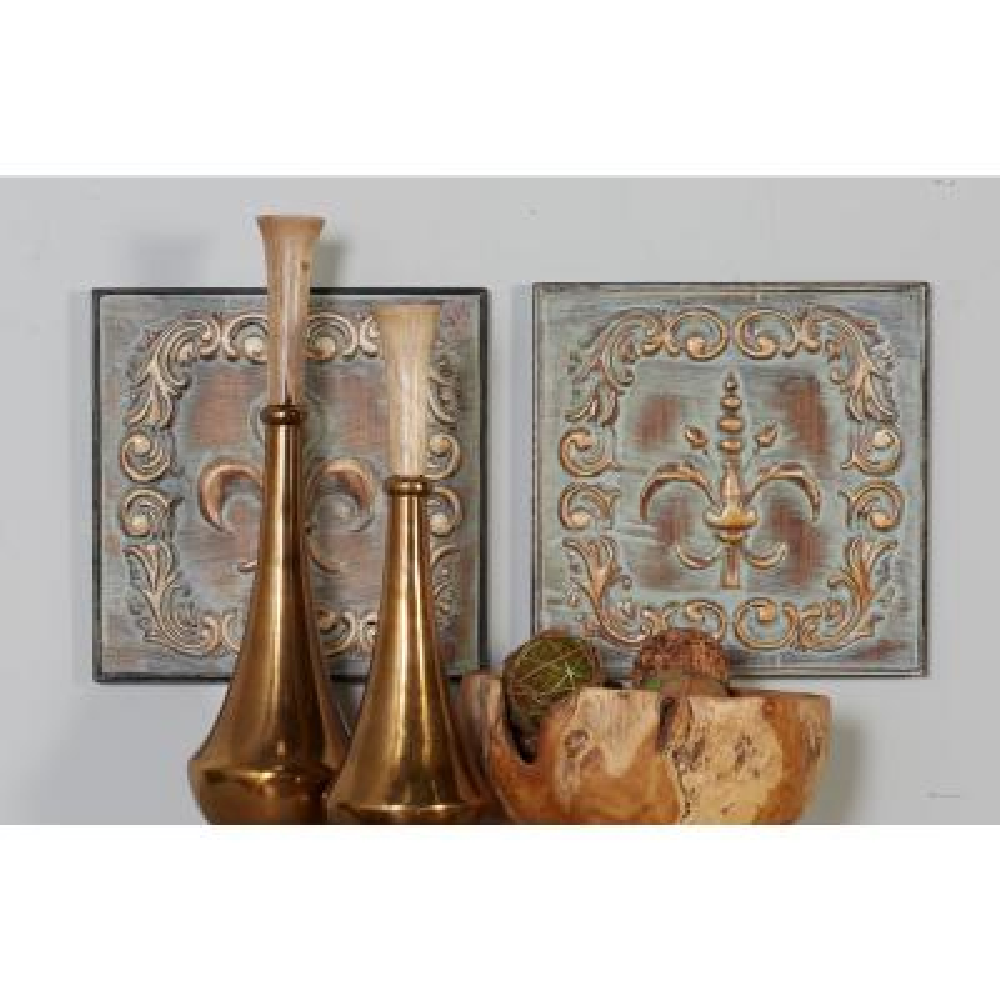 Iron Whitewashed Brown Fleur-de-Lis Metal Works (Set of 4)