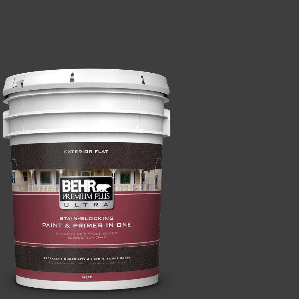 BEHR Premium Plus Ultra 5-gal. #T13-3 Black Lacquer Flat Exterior Paint