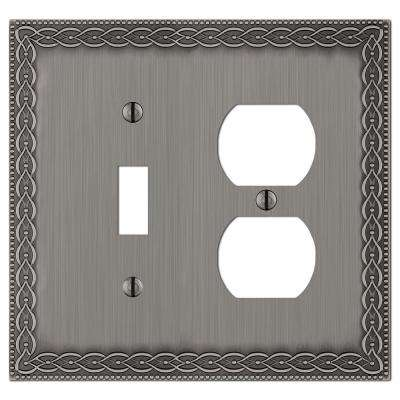 Amelia Cast 1-Toggle and 1-Duplex Wall Plate, Antique Nickel
