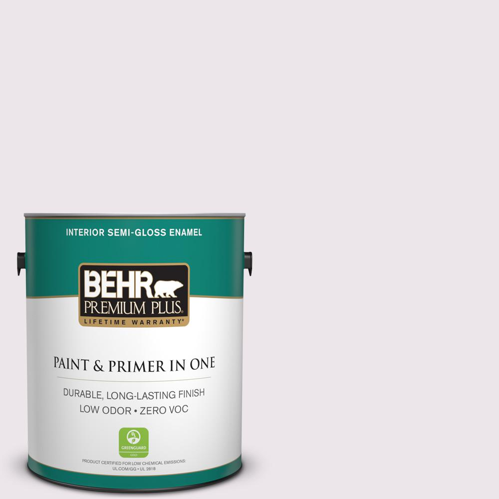 BEHR Premium Plus 1-gal. #670C-1 November Pink Zero VOC Semi-Gloss Enamel Interior Paint