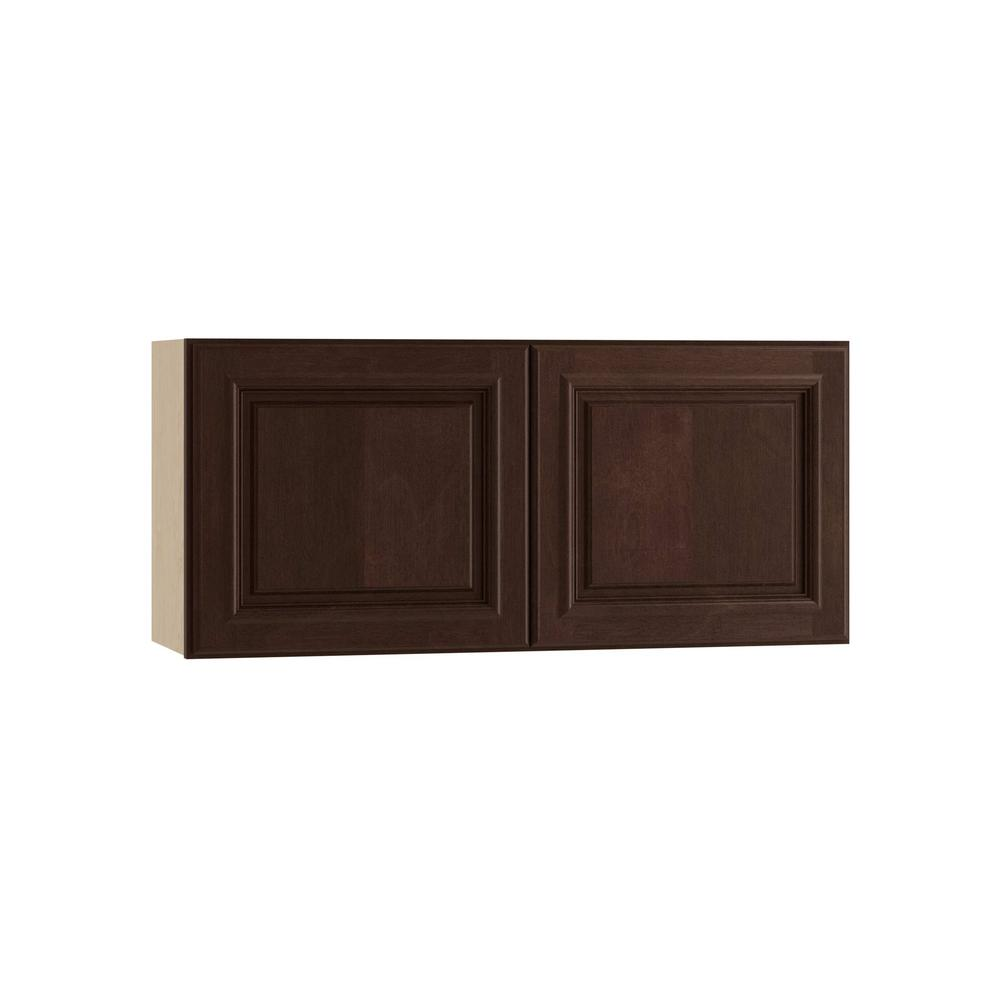 Home Decorators Collection Somerset Assembled 36x12x12 in. Wall Cabinet with 2 Doors in Manganite