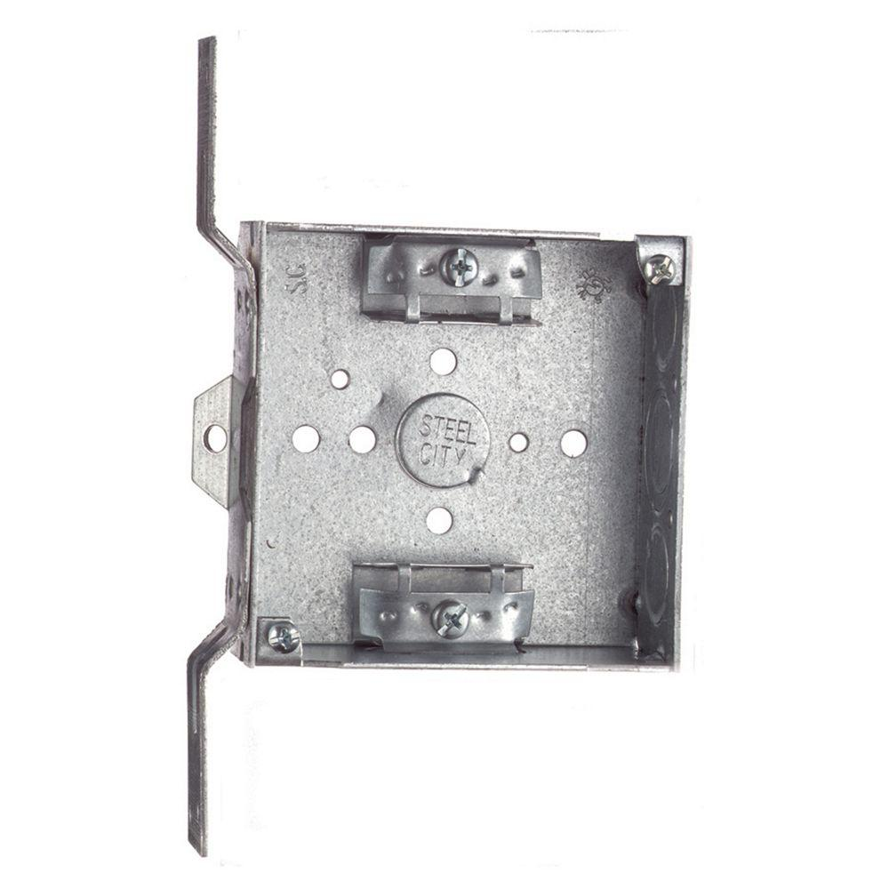 4 in. Pre-Galvanized Steel Square Box with SV Bracket (Case of