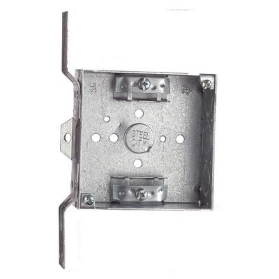 1-Gang 4 in. New Work Pre-Galvanized Metal Square Electrical Box with SV Bracket (Case of 25)
