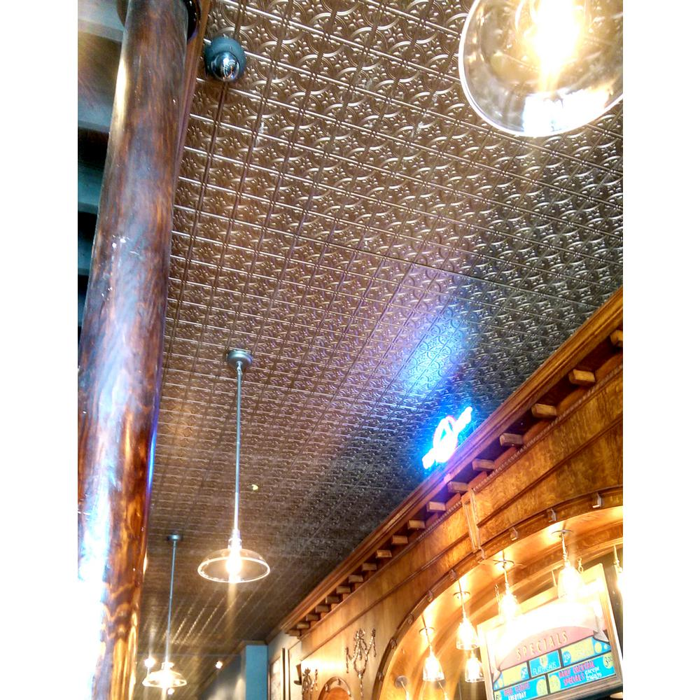 Global Specialty Products Dimensions Faux 2 ft. x 4 ft. Tin Style Ceiling and Wall Tiles in Brass