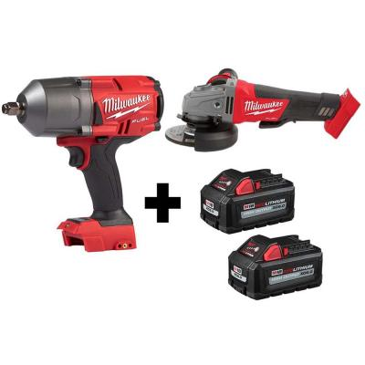 M18 FUEL 18-Volt 1/2 in. Lithium-Ion Brushless Cordless Impact Wrench w/ Friction Ring & Grinder w/ Two 6.0Ah Batteries