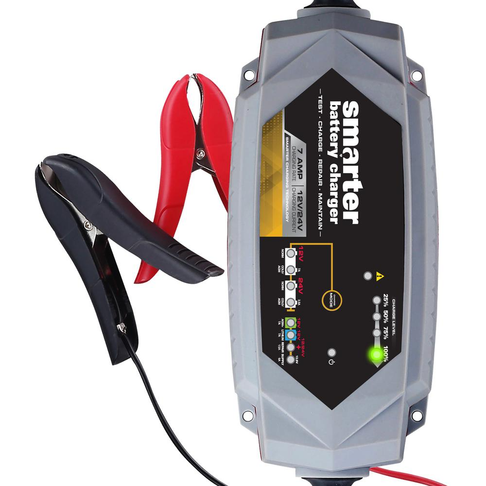 Smarter 7 Amp 12-Volt/24-Volt Battery Charger with Repair...