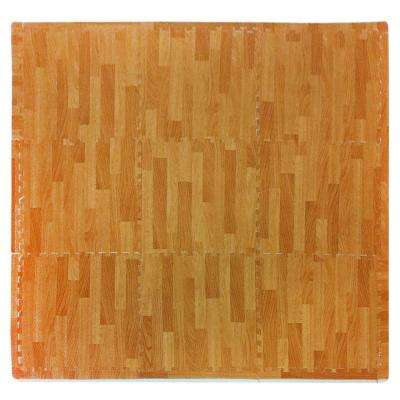 Wood Grain Natural 36 in. x 36 in. EVA Floor Mat Set