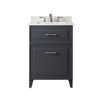 Lillywood 24 in. W x 22 in. D Bath Vanity in Dark Charcoal with Cultured Stone Vanity Top in White with White Basin