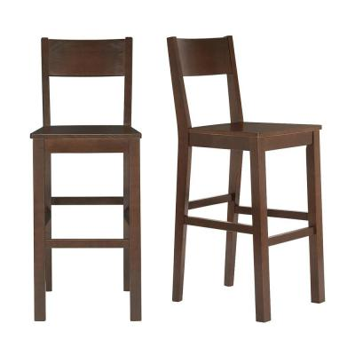 Lincoln Chocolate Wood Bar Stool with Square Back (Set of 2) (20.32 in. W x 44.54 in. H)