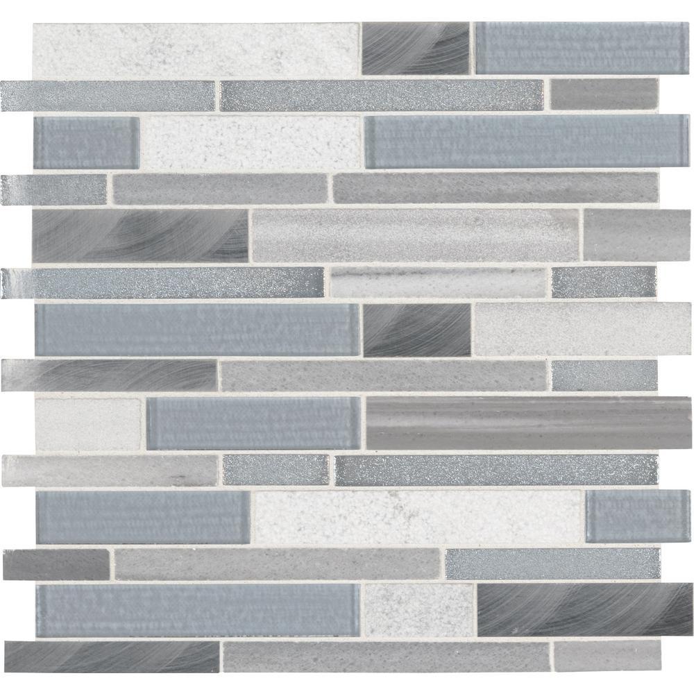 Harlow Interlocking 12 in. x 12 in. x 8 mm Stone Glass Metal Mesh-Mounted Mosaic Tile (1 sq. ft.)
