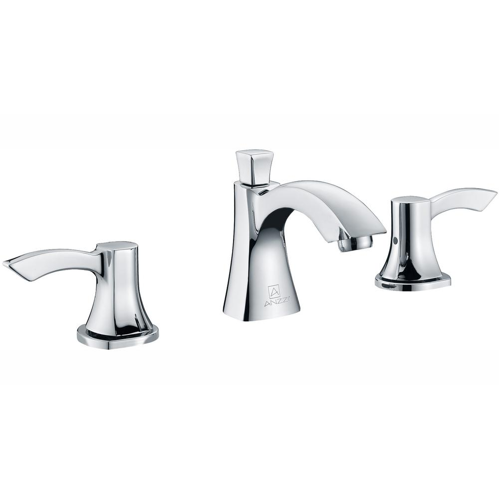 ANZZI Sonata Series 8 in. Widespread 2-Handle Mid-Arc Bathroom Faucet in Polished Chrome
