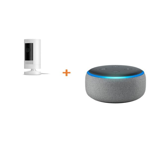 Stick Up Camera Plug-In Indoor/Outdoor Standard Security Camera, White with Echo Dot- Heather Gray (3rd Gen)