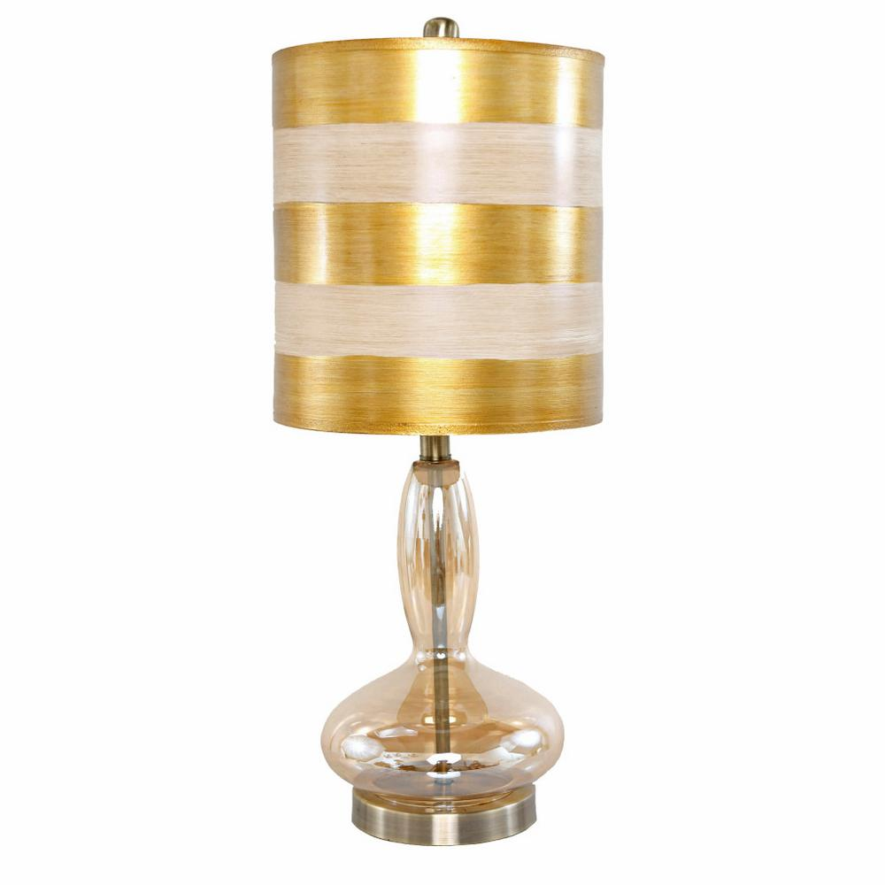 H Gold Table Lamp With Hand Blown Curved Glass