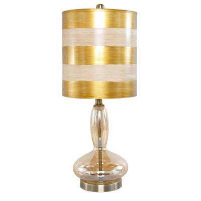 Superior H Gold Table Lamp With Hand Blown Curved Glass Base
