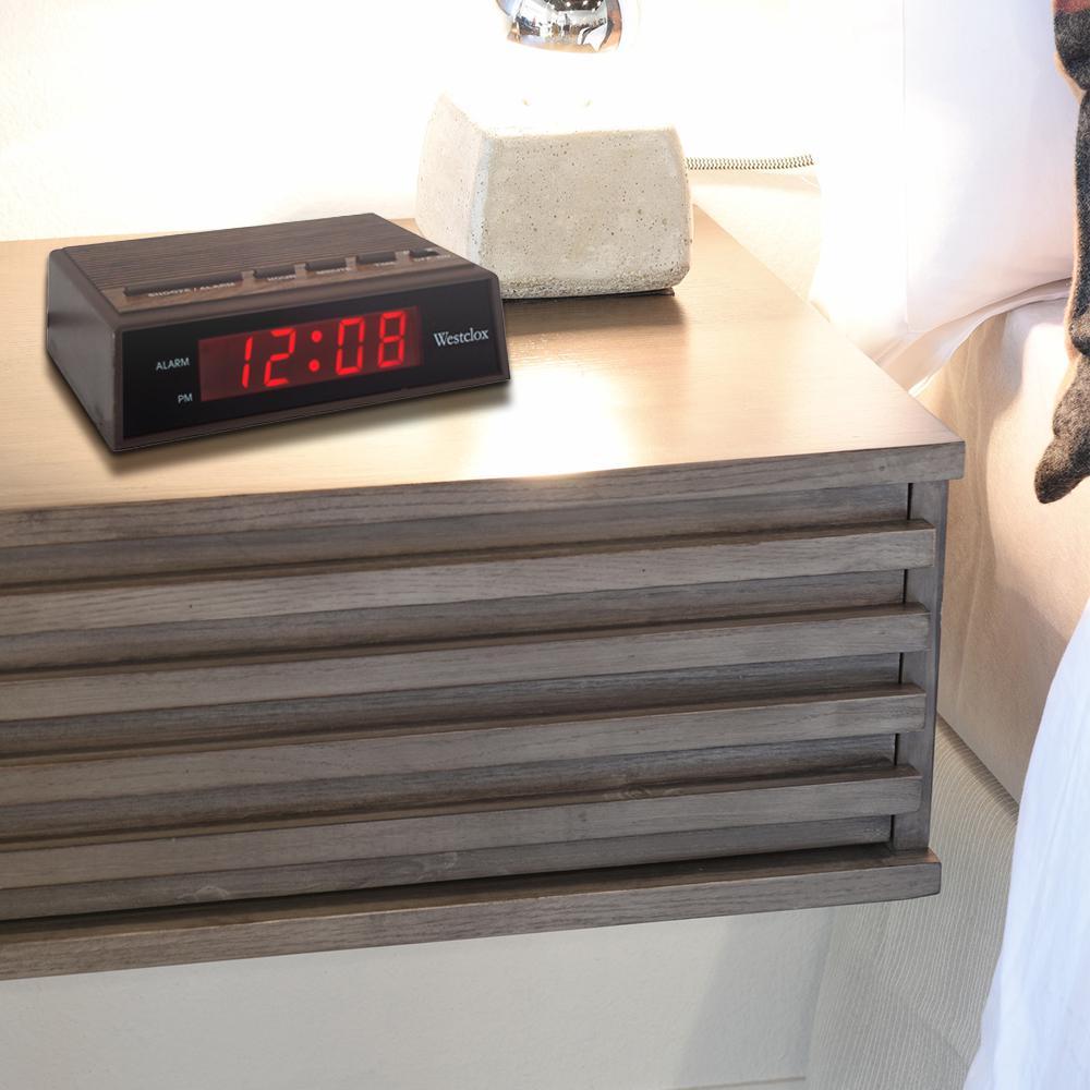 Brown Woodgrain LED Alarm Clock