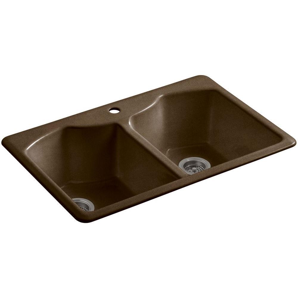 Drop In Kitchen Sink Black Two Hole