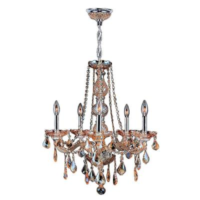 Worldwide Lighting Provence Collection 5-Light Chrome Finish with Amber Crystal Chandelier