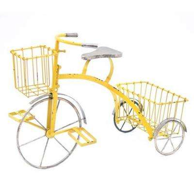 Tricycle Antique Yellow Metal Plant Stand