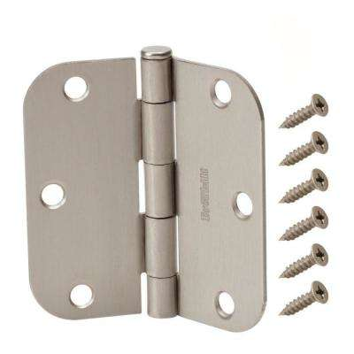 3-1/2 in. x 5/8 in. Radius Satin Nickel Door Hinge Value Pack (12 per Pack)