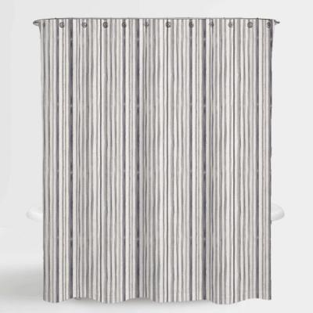 72 in. x 72 in. Stripe Neutral Mira Water Repellent Shower