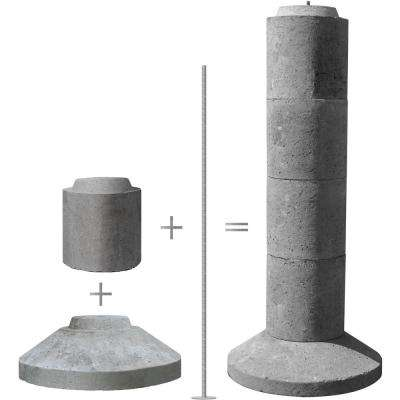 5-Section Stackable Concrete Pier Footing