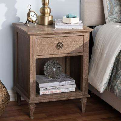 Venezia 1 Drawer Shelf Light Brown Nightstand