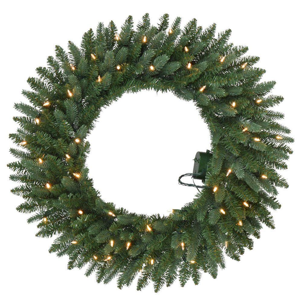 home accents holiday 30 in battery operated meadow artificial wreath with 50 clear led lights. Black Bedroom Furniture Sets. Home Design Ideas